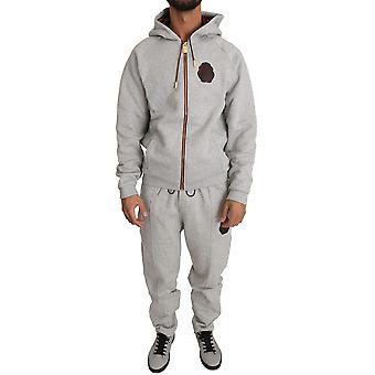 Šedý bavlnený sveter nohavice tepláková súprava BIL1029-5