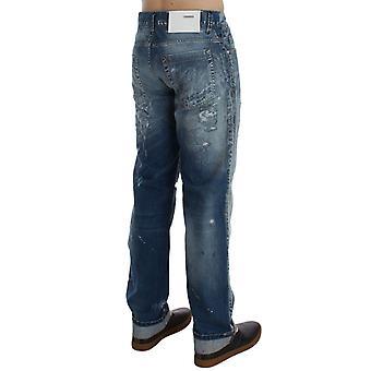 ACHT Blue Wash Roztrhané Džínová bavlna Pravidelné Fit Džíny SIG30467-1