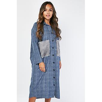 Fluffy Fur Pocket Shirt Dress