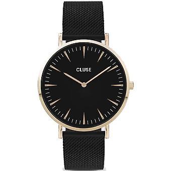 Cluse Cw0101201008 La Bohème Gold & Black Mesh Ladies Watch