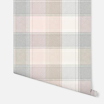 901900 - Country Check Pink & Grey - Fond d'écran Arthouse