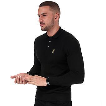 Men's Luke 1977 Milk Knitted Polo Shirt in Black