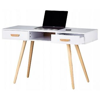Wood dressing table with 2 drawers white in size 120x45x75 cm