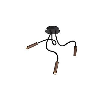 Lacey Ceiling, 3 Light Adjustable Arms, 3 X 5w Led Dimmable, 3000k, 930lm, Black/satin Copper, 3yrs Warranty