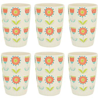 Tiny Dining Children's Bamboo Fibre Juice Cup - Flower - Pack of 6