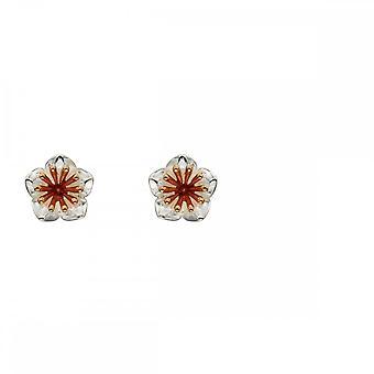 Elementos prata de prata crisântemo flor rosa ouro detalhes brincos e5668