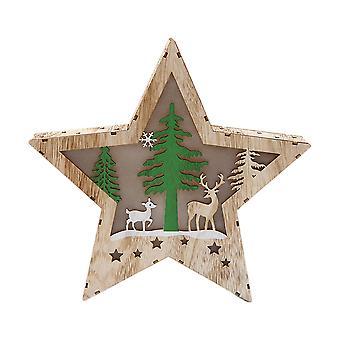 Enfeite de Natal da Star Shape Snow House com luz para decoração de festa de Natal