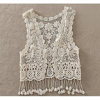Toddler Kids Baby Lace Croșetat Hollow Out Cardigan Vest Topuri, Bluză Ciucuri