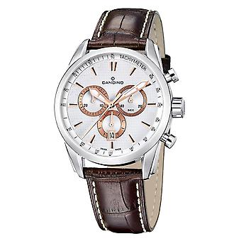 Candino Swiss C4408-1 Men's Silver Tone Chronograph Wristwatch