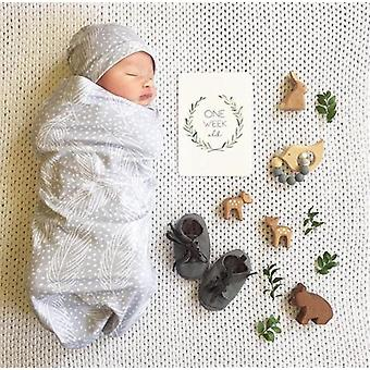 Newborn Cotton Swaddle Muslin Blanket Baby Wrap Swaddling Blanket Hat Set Size 0-3m (3m)
