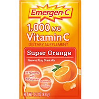 Alacer Emergen-C Vitamin C Drink Mix, 1000 mg, Supeer Orange 10 pkts