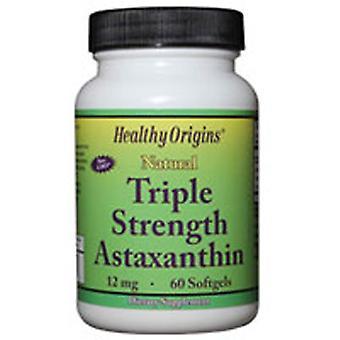 Origines saines Astaxanthine Triple Force, 12 mg, 60 Gels mous