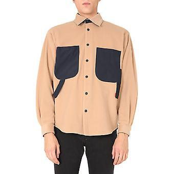 Msgm 2940me09y20750823 Mænd's Beige Polyester Shirt