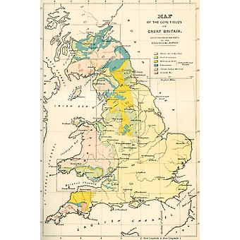 Map showing the coalfields of Great Britain in the 19th century From The National Encyclopaedia published c1890 PosterPrint
