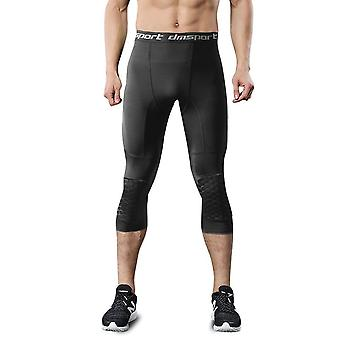 "Men""s Safety Anti-collision Pants, Basketball Training 3/4 Tights Leggings"