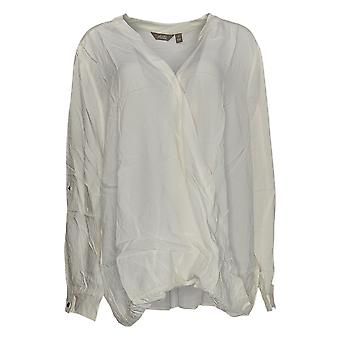 Motto Women's Plus Top Ivory Tunic Rayon Long Sleeve V-Neck 648-493