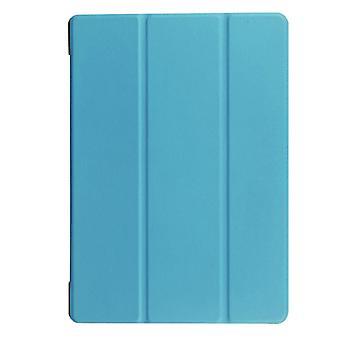 מרקם קסטר אופקי הפוך צבע אחיד נרתיק עור עם מחזיק שלושה קיפולים עבור Lenovo TAB 2 A10-30 X30F, 10.1 אינץ' (כחול)