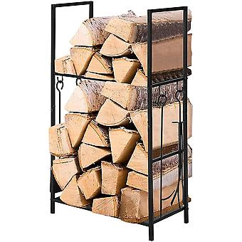 SoBuy SDA02-SCH,2 Niveaux Firewood Rack with 4 Tools, Firewood Shelf Holder Fireplace Log Rack