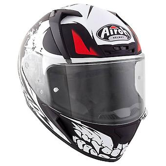 Airoh Valor Bone Full Face Motorcycle Helmet Black White Red ACU Approved