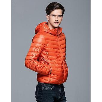 رجل شتاء الخريف سترة بطة أسفل مقنعين فائقة الضوء الدافئة ملابس معطف Parkas
