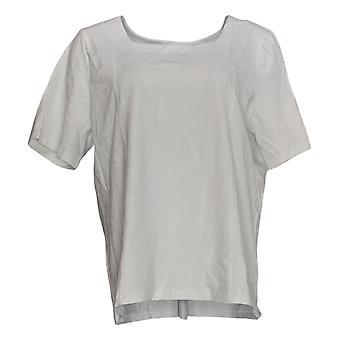 Bob Mackie Femmes apos;s Top Square Neck Short Sleeve Tricot blanc A292288