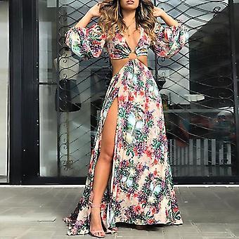 Kvinnor Sexig blommig klänning partyklänning
