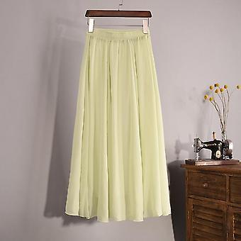 Summer Longa, Korean Faldas, High Waist, Pleated Maxi Skirt