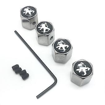 Peugeot Set of 4 Chrome Anti-Theft Car Tyre Air Dust Valve Stem Cap With Allen Key