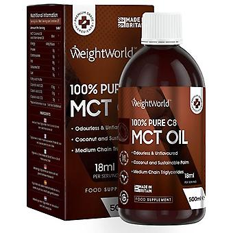 Pure C8 MCT Oil - 500 ml  Bottle - Natural MCT Oil - Weight Management - Brain Health - Appetite Suppressants