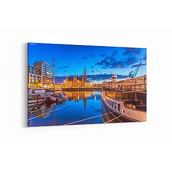 Malerei - Antwerpen in der Nacht - 90x60cm