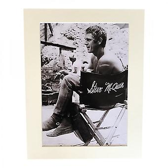 Larrini Mcqueen On Set In His Directors Chair A4 Mounted Photo