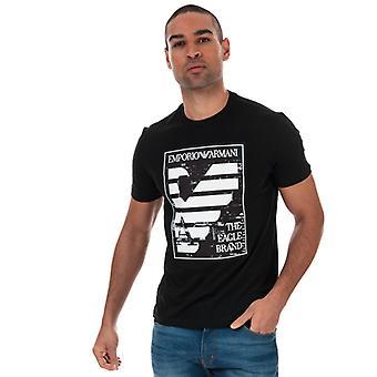 Menn&aos;s Armani Panel Print T-skjorte i svart