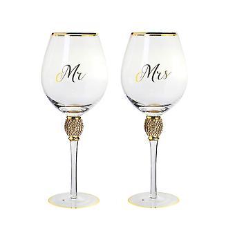 Mr&Mrs Diamante Weinglas Gold von Lesser & Pavey