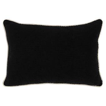 Oreiller texturé de jet de tissu avec la tuyauterie, le noir et la crème