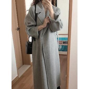 Women Korean Winter Long Overcoat Outwear Sleeve Coat