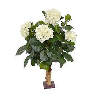 Pianta artificiale artificiale Hortensia Deluxe 65 cm su crema per piedi