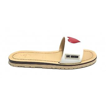 Zapatos Mujer Sabot Amor Moschino Mod. Capri 15 en cuero blanco\ corazón rojo Ds20mo23