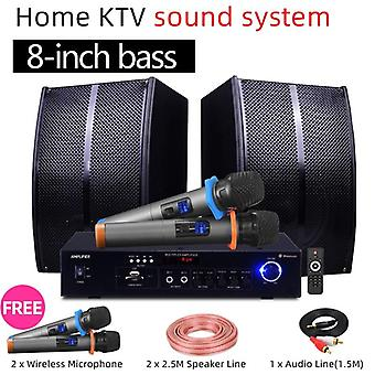 Home Karaoke Speaker Bluetooth Amplifier Singing +2 Wireless Mic Tv Set
