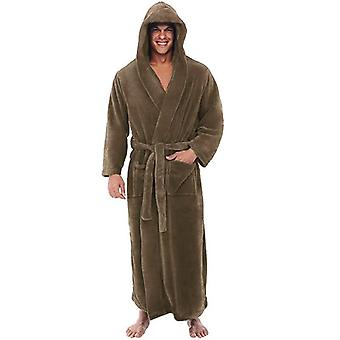 Зимние мужчины Фланель с капюшоном Толстый Случайный Зимняя осень Длинные Кимоно Главная Sleepwear