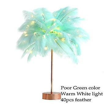 Diy creative feather table lamp warm white light tree feather lampshade girl led wedding decorative lights pink white birthday