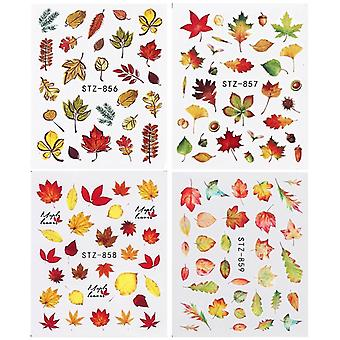 Gold Yellow Maple Leaf Water Decals Sliders Fall Leaves Nail Art Stickers