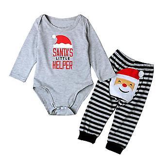 Neugeborenen Baby Weihnachten Strampler Streifen lange Hose Kleidung Set