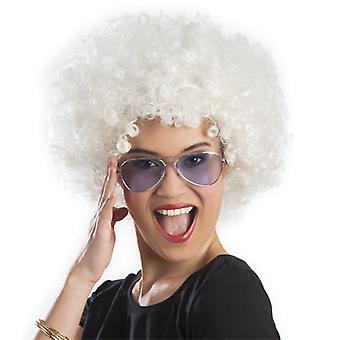 Afro pruik / witte clown volwassen volume