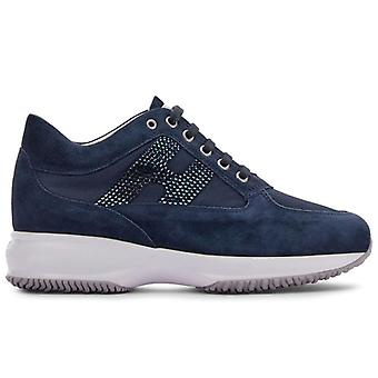 Hogan Interactive Blue Suede and Fabric Sneaker avec Strass