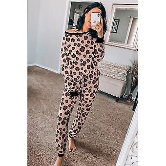 Estampado de leopardo rosa Top de manga larga, pantalón Loungewear Set