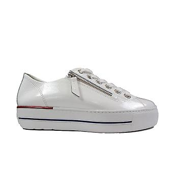 Paul Green 5006-01 White Patent Leather Womens Lace/Zip Up Trainers