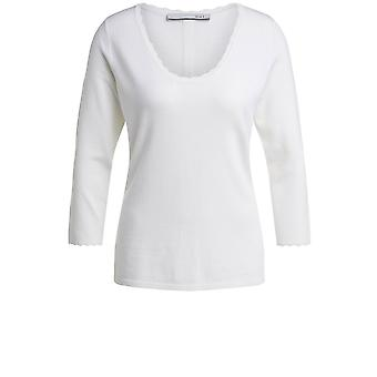 Oui Cream Ribbed Knit Jumper