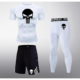 Men Skull Compression Set, Sports Tights T-shirt& Pants