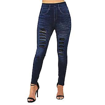 Kvinders Denim Jeans Ødelagt Optik Leggings Skinny Stretch Lace Vintage Pants