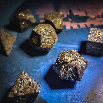 Snowflake Obsidian Gemstone Dice Set